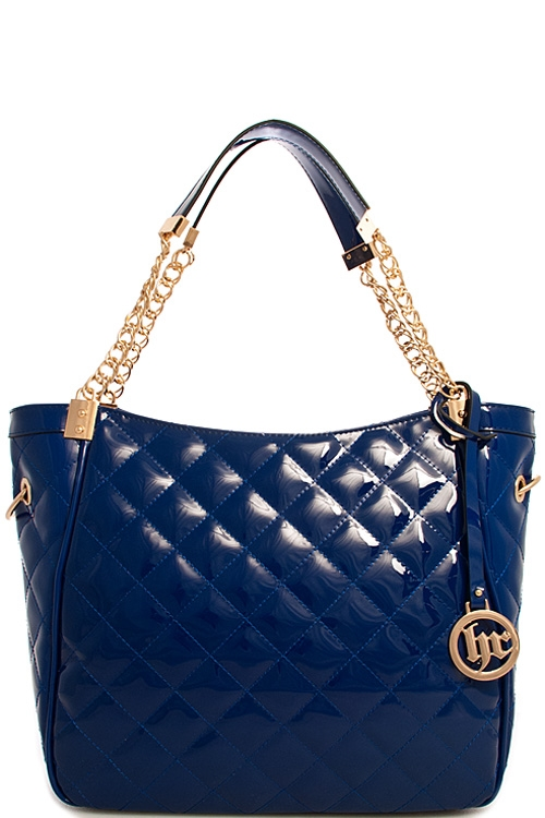 Fashion Glossy Quilted Tote - orangeshine.com