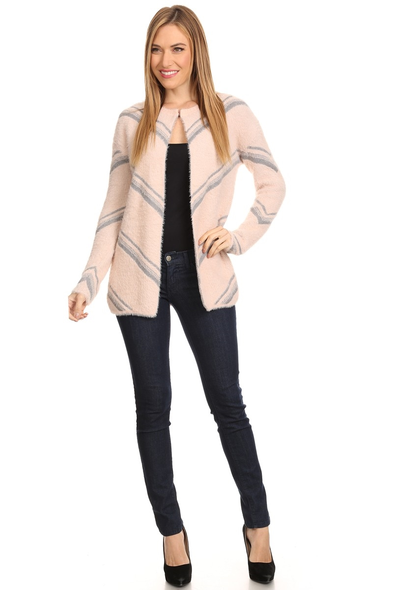 FURRY CARDIGAN SWEATER - orangeshine.com