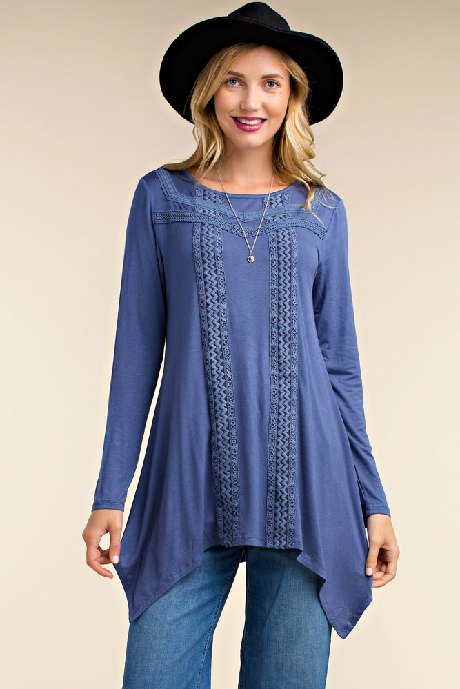 LACE TRIM SWING TUNIC - orangeshine.com