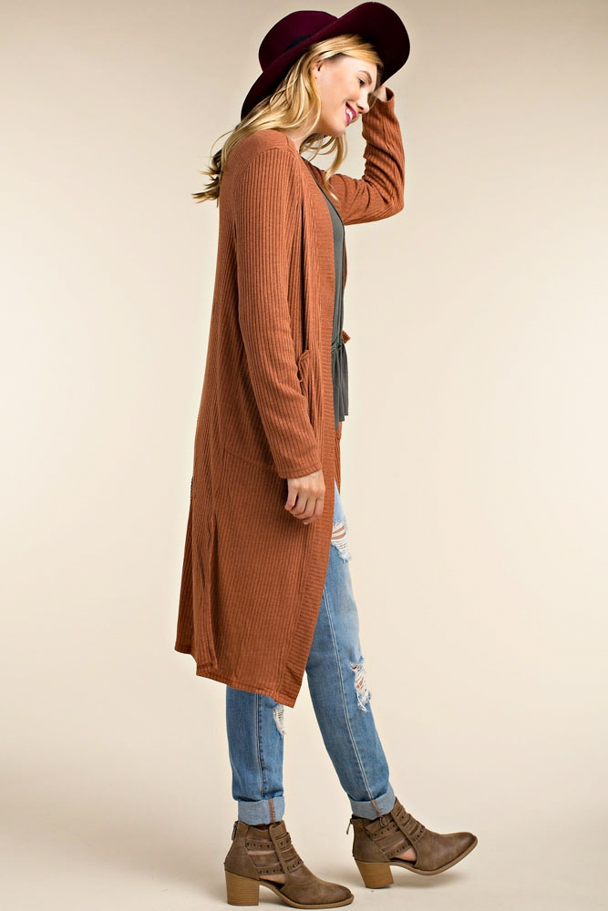 RIBBED UP MAXI CARDIGAN - orangeshine.com