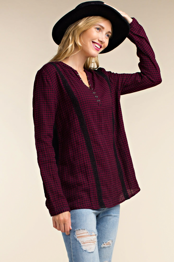 MONOCHROME PLAID TOP - orangeshine.com
