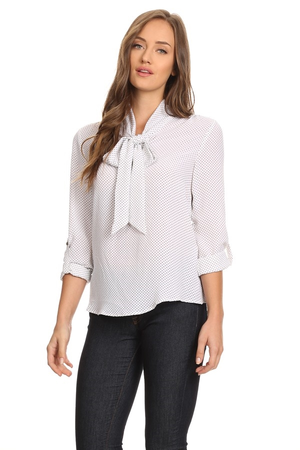 Bow Tie-up Blouse - orangeshine.com