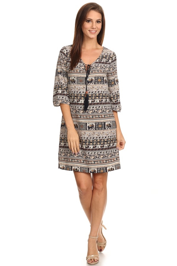 Print Relaxed Dress - orangeshine.com