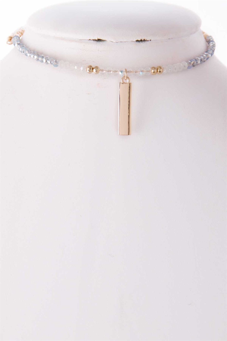 METAL BAR DROP BEADED CHOKER - orangeshine.com