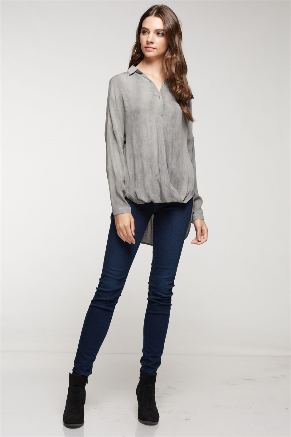 Washed crinkle blouse - orangeshine.com