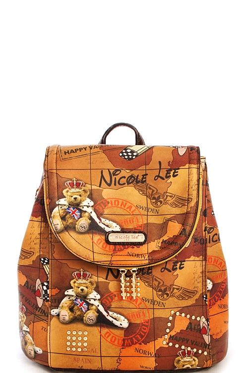 Nicole Lee Luna Print Backpack - orangeshine.com