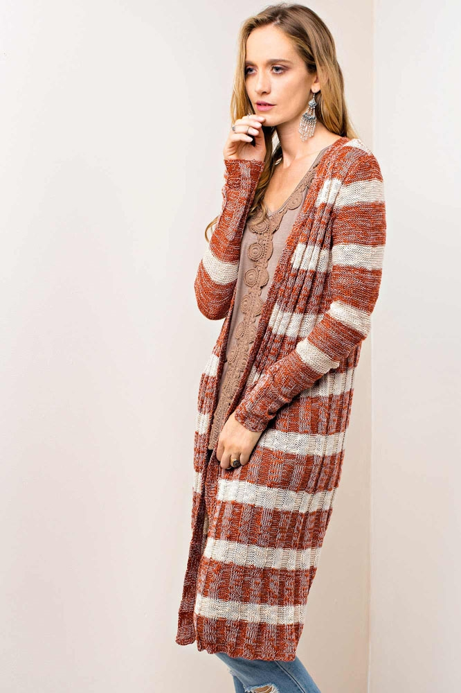 CASUAL STRIPED CARDIGAN - orangeshine.com