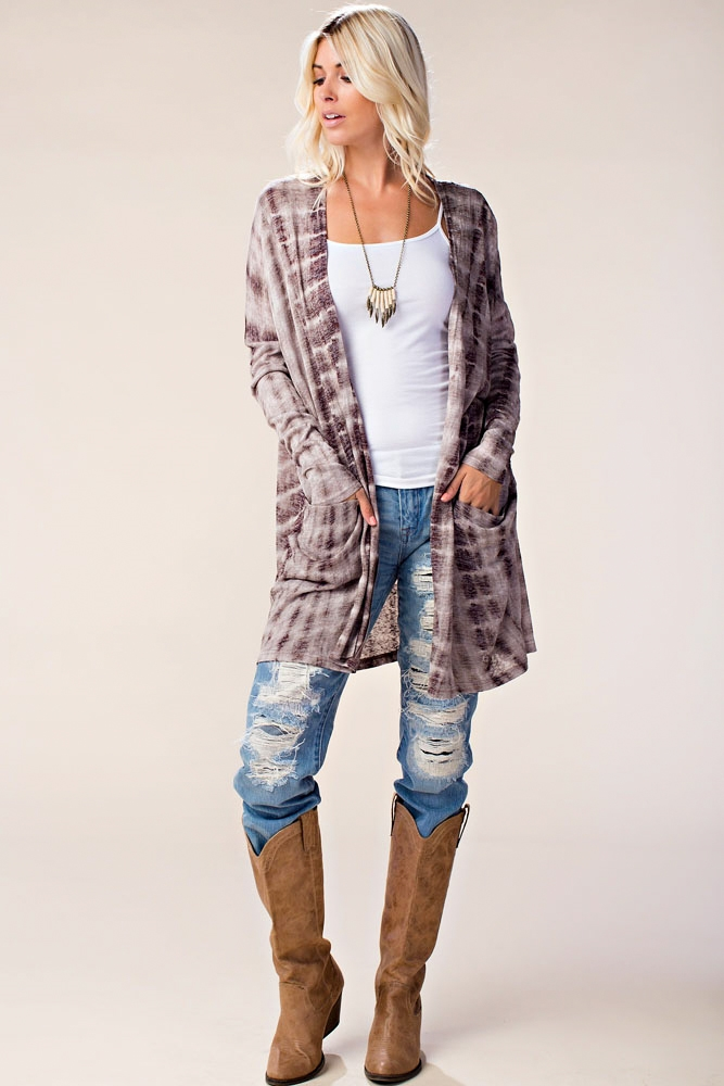 LONG SLEEVE TIE DYED CARDIGAN - orangeshine.com