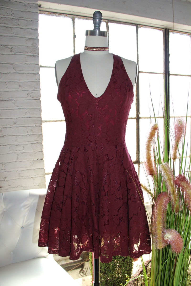 BURGUNDY DOUBLE LAYER LACE - orangeshine.com