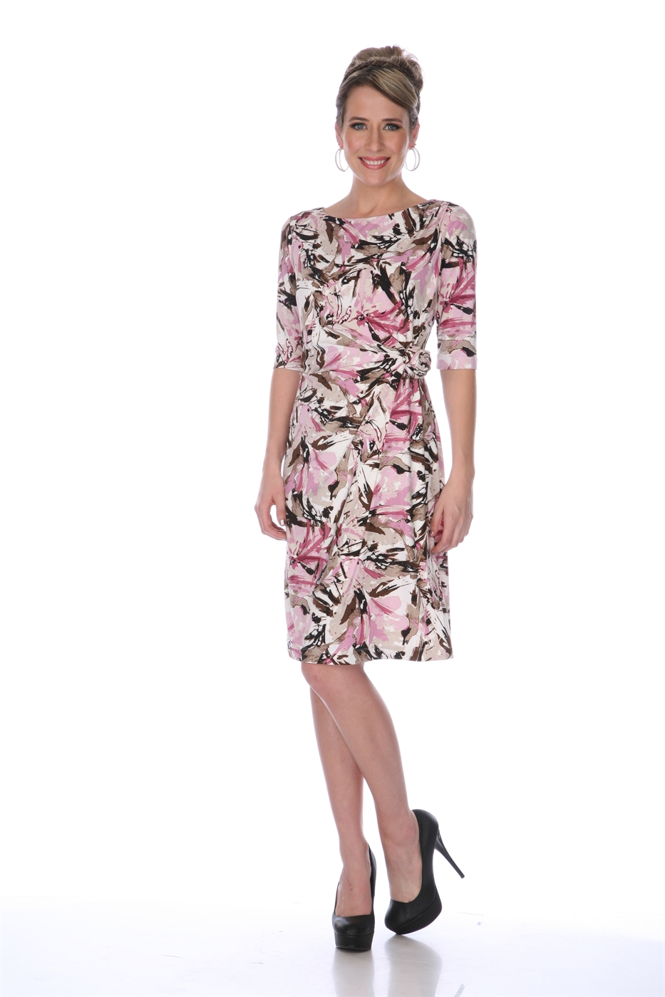3/4 SLEEVE PRINT DRESS - orangeshine.com