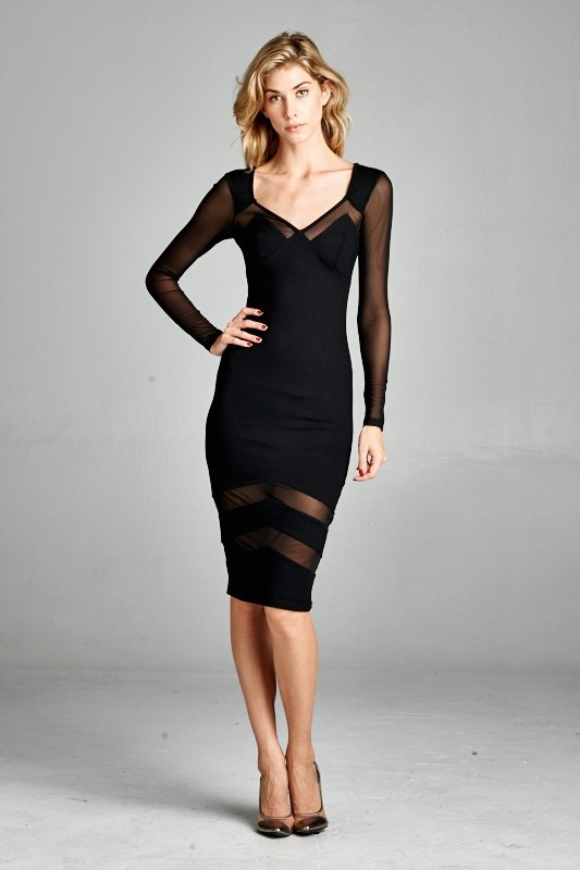 MESH INSET BODYCON DRESS - orangeshine.com