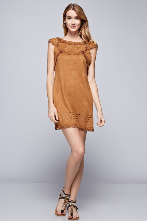 SUEDE LASER CUT DRESS - orangeshine.com