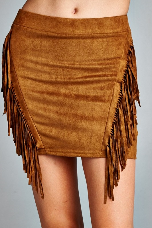 SUEDE FLINGE SKIRT - orangeshine.com