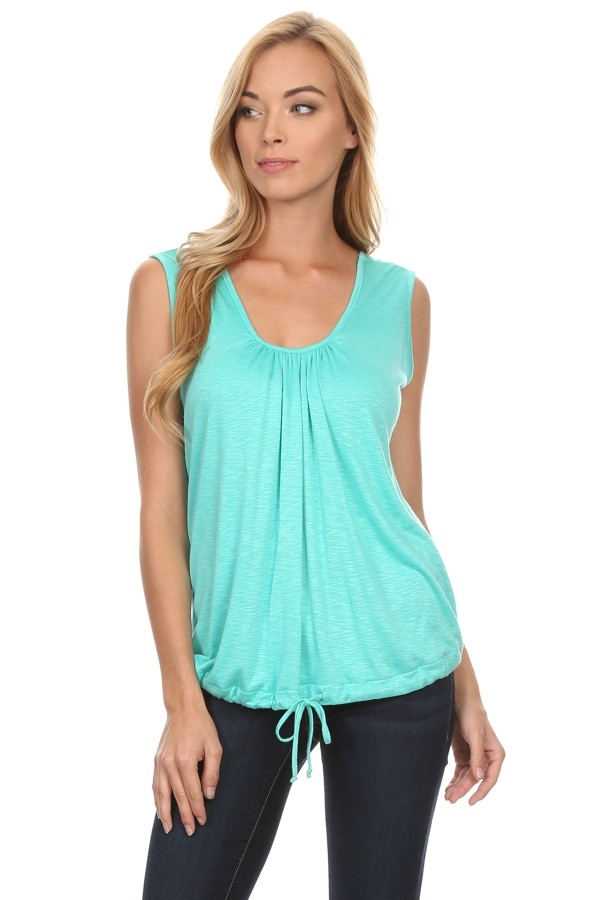 Solid sleeveless short top - orangeshine.com