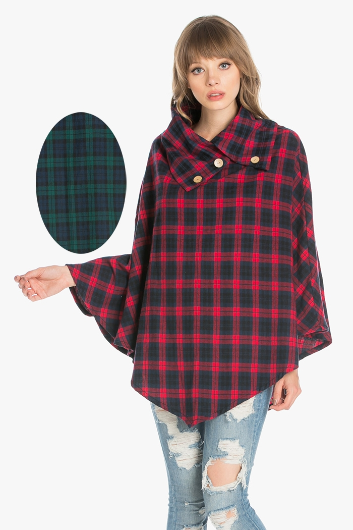 PLAID SUEDE PONCHO - orangeshine.com