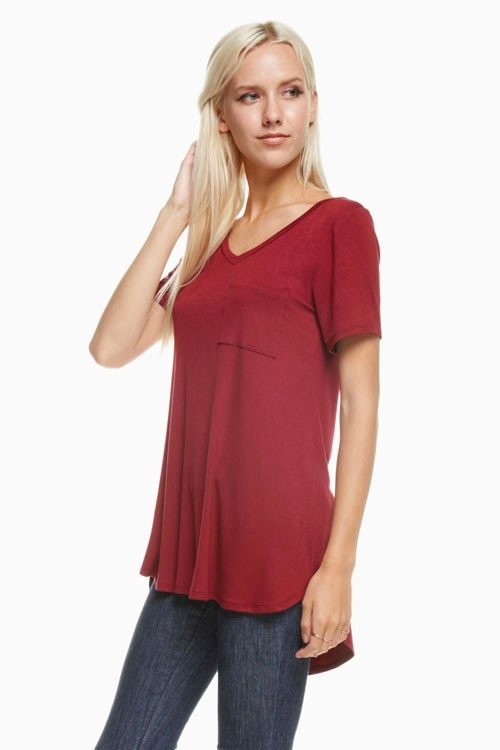 Short Slv V-Neck Top - orangeshine.com
