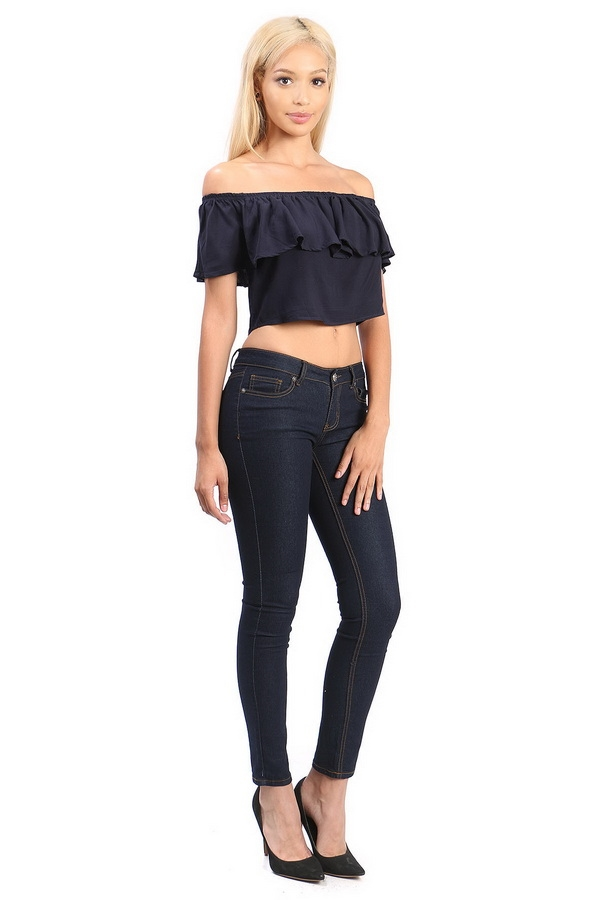 Off shoulder cropped top - orangeshine.com