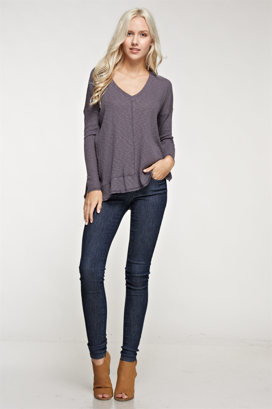 Thermal V-neck long sleeve top - orangeshine.com