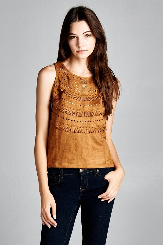 SUEDE LASER CUT TOP - orangeshine.com