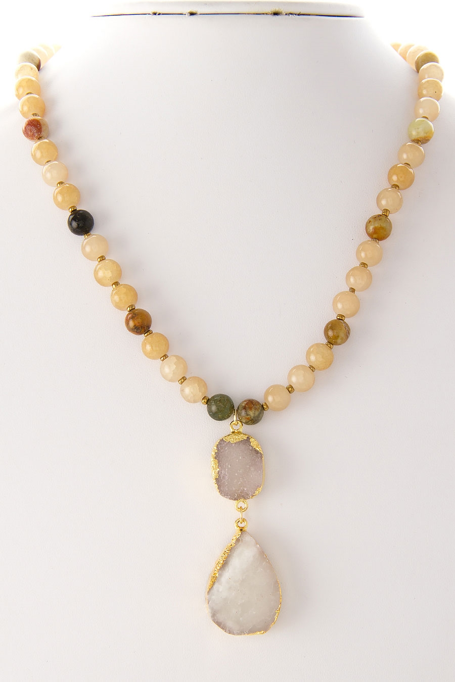 DOUBLE DRUZY DROP NECKLACE - orangeshine.com