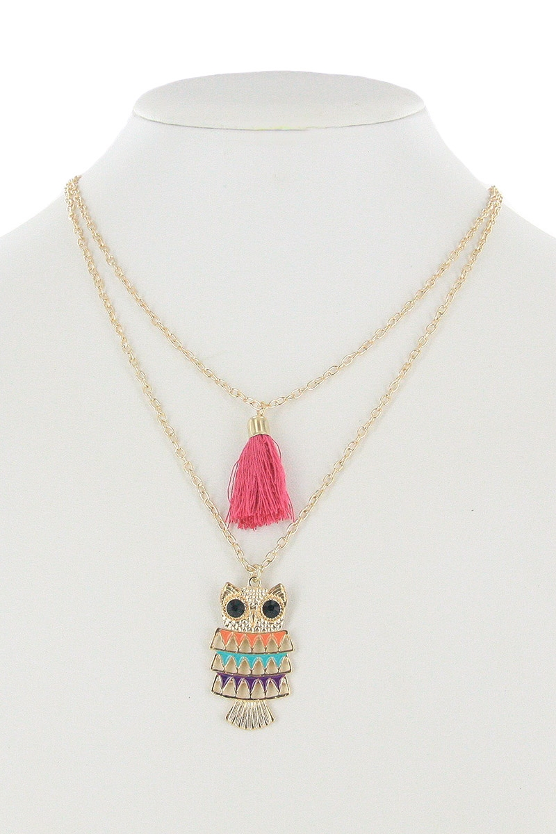 Owl and Tassel Necklace - orangeshine.com