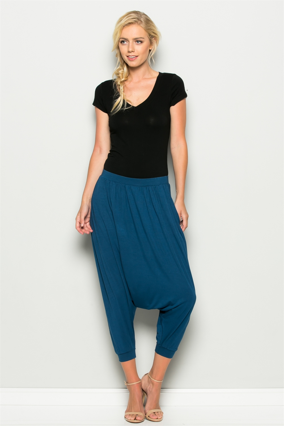 Solid Baggy Harem Pants - orangeshine.com
