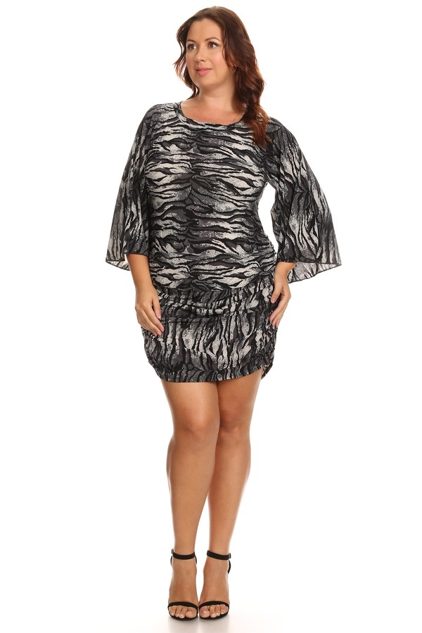 Bell Sleeve Tiger Print Dress - orangeshine.com