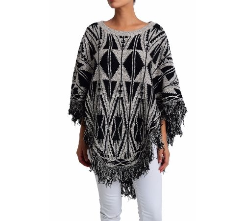 GEOMETRIC BLACK PONCHO - orangeshine.com