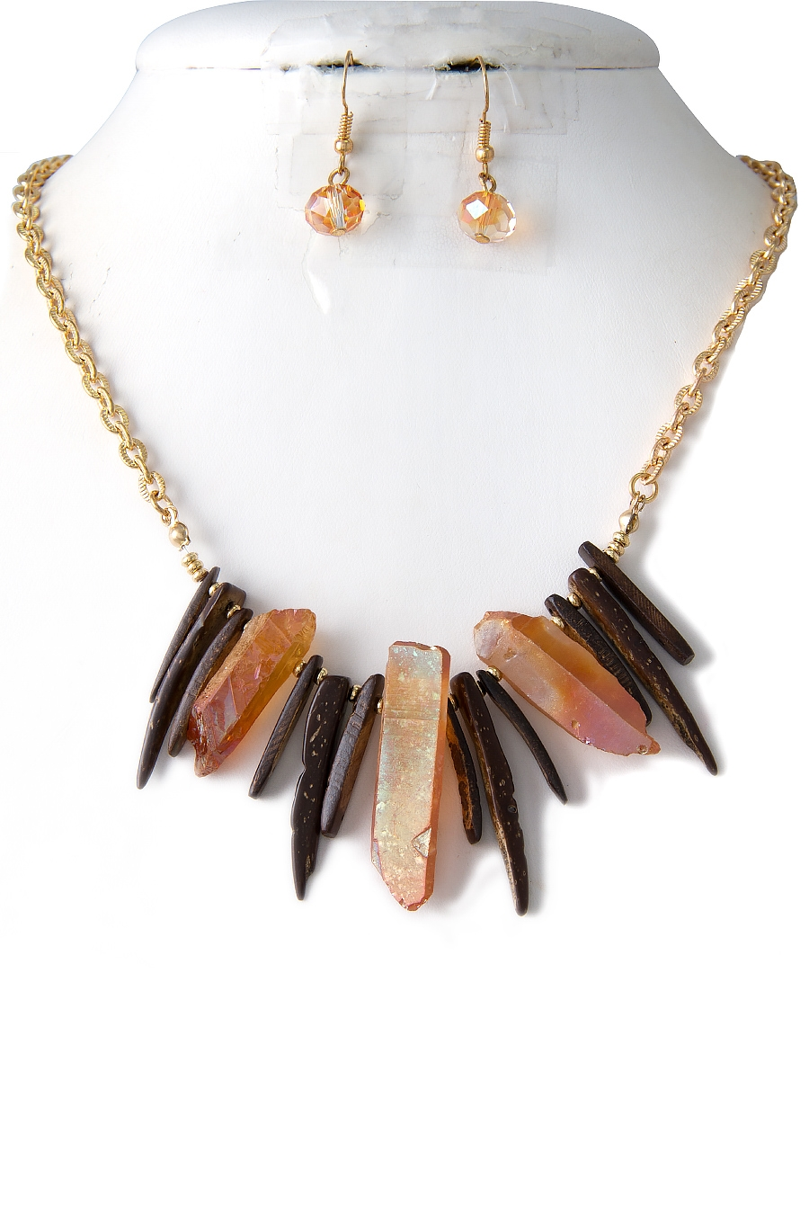 STONE WOOD NECKLACE SET - orangeshine.com
