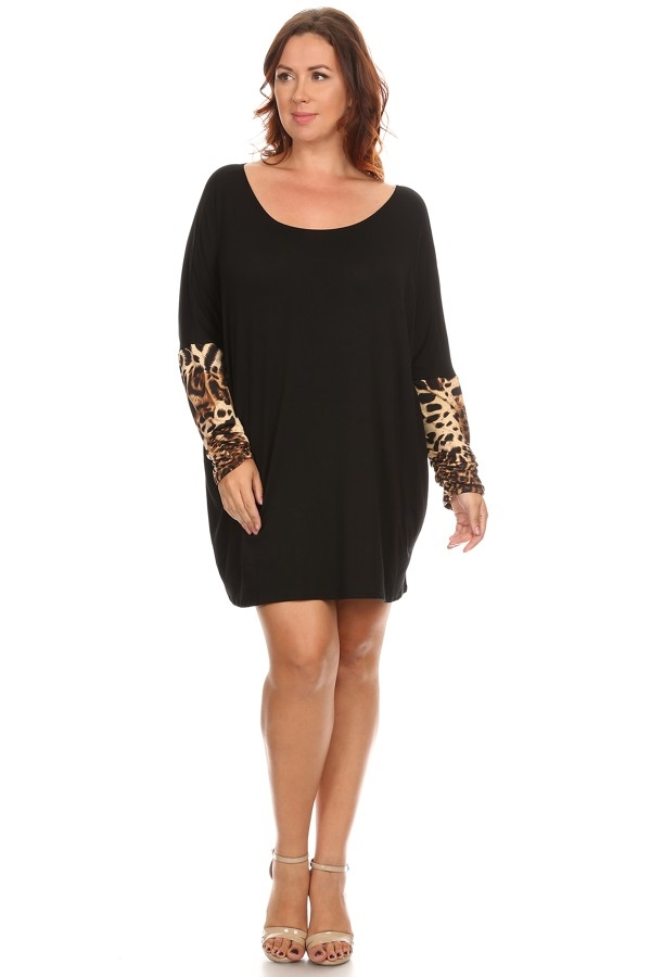Solid And Leopard Print Tunic - orangeshine.com