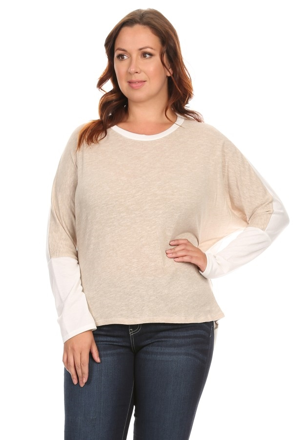 Long Sleeve Color Block Top - orangeshine.com