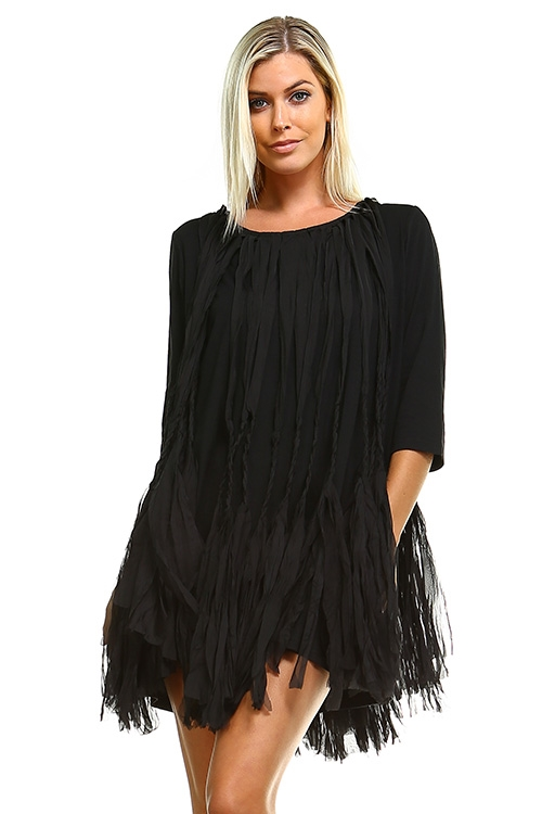 Q618 Black Bohemian Dress - orangeshine.com