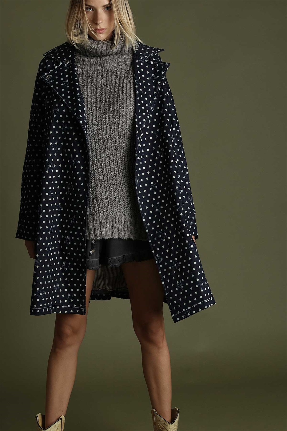 Polka dot printed denim coat - orangeshine.com