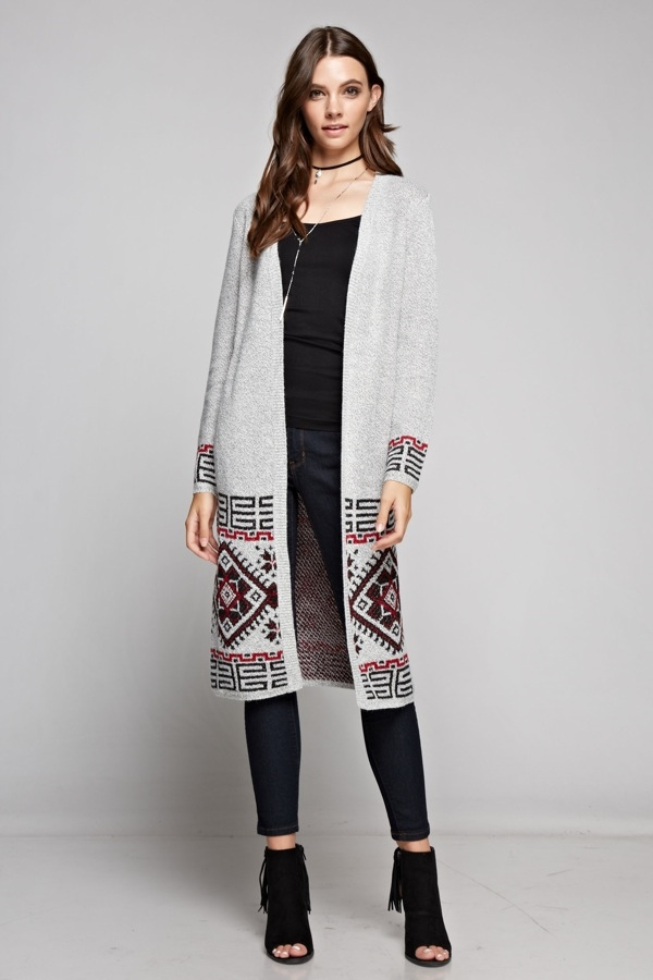 Geo Print Long Cardigan - orangeshine.com