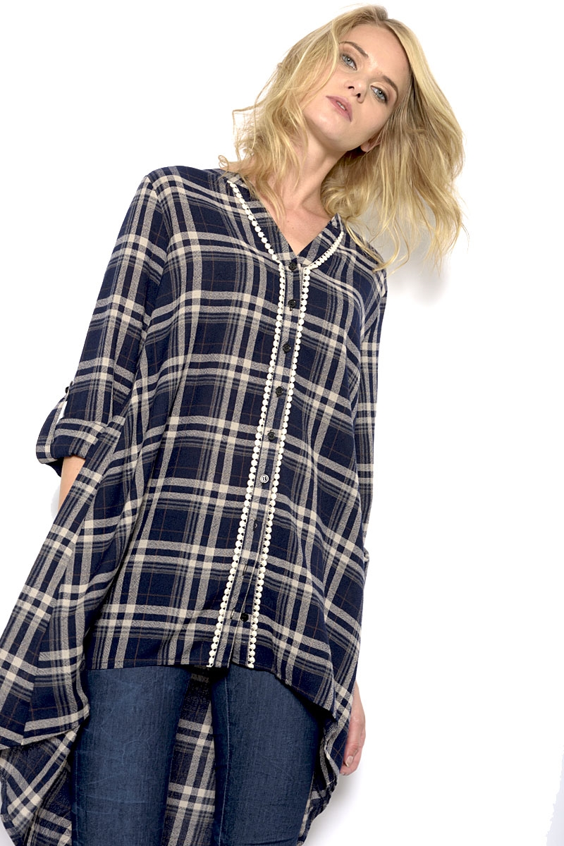 WOVEN PLAID BUTTON UP TOP - orangeshine.com