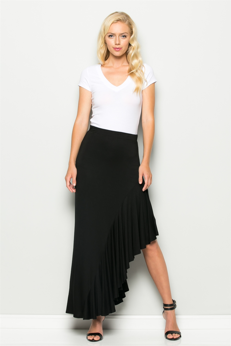 SIDE RUFFLE MAXI SKIRT - orangeshine.com
