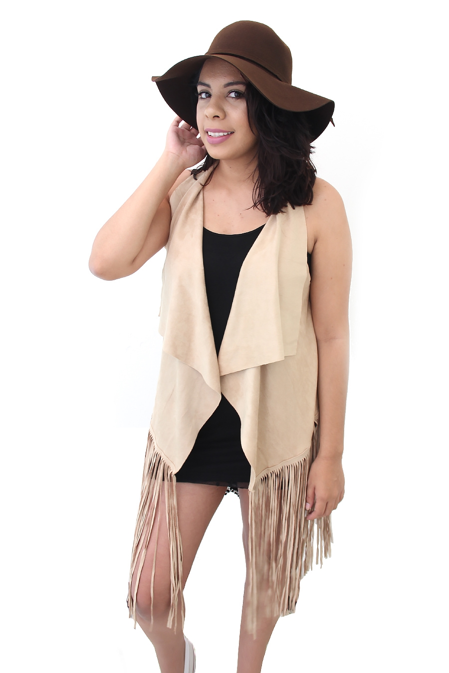 LOVELY SUEDE FRINGE END VEST - orangeshine.com