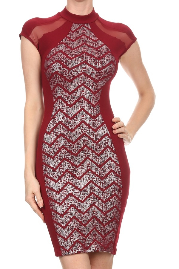 Metallic chevron printed dress - orangeshine.com