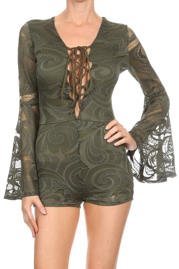 Lace romper with bell style - orangeshine.com
