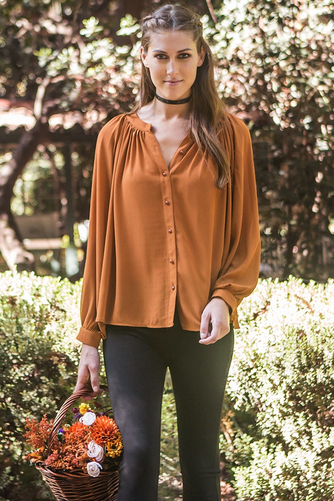 BUTTON DOWN PEASANT TOP - orangeshine.com
