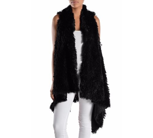 SLEEVELESS BLACK FUR CARDIGAN - orangeshine.com