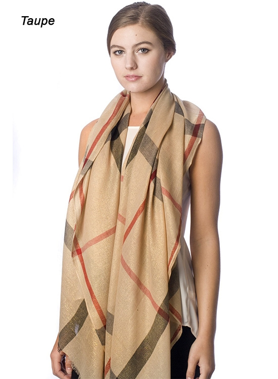 PLAID PATTERN SCARF - orangeshine.com