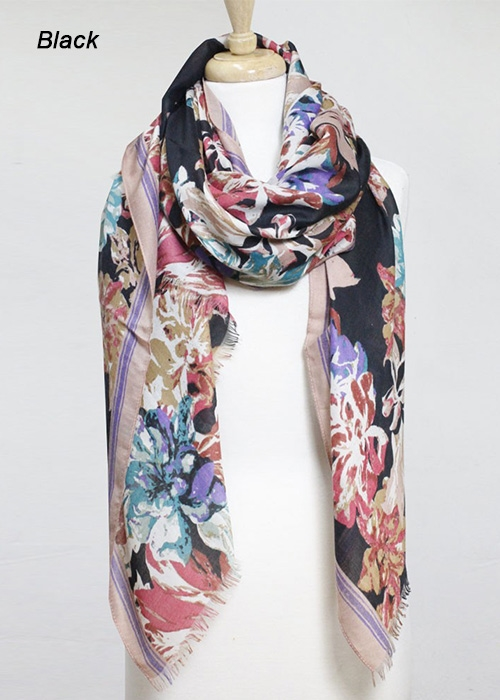 FLOWER WOOL SCARF - orangeshine.com
