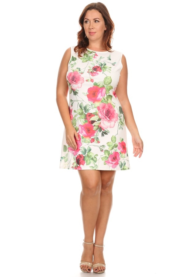 Floral Print Sleeveless Dress - orangeshine.com
