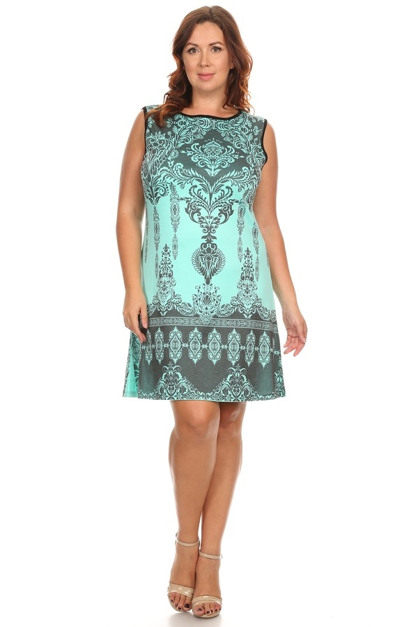 Print Sleeveless Dress - orangeshine.com