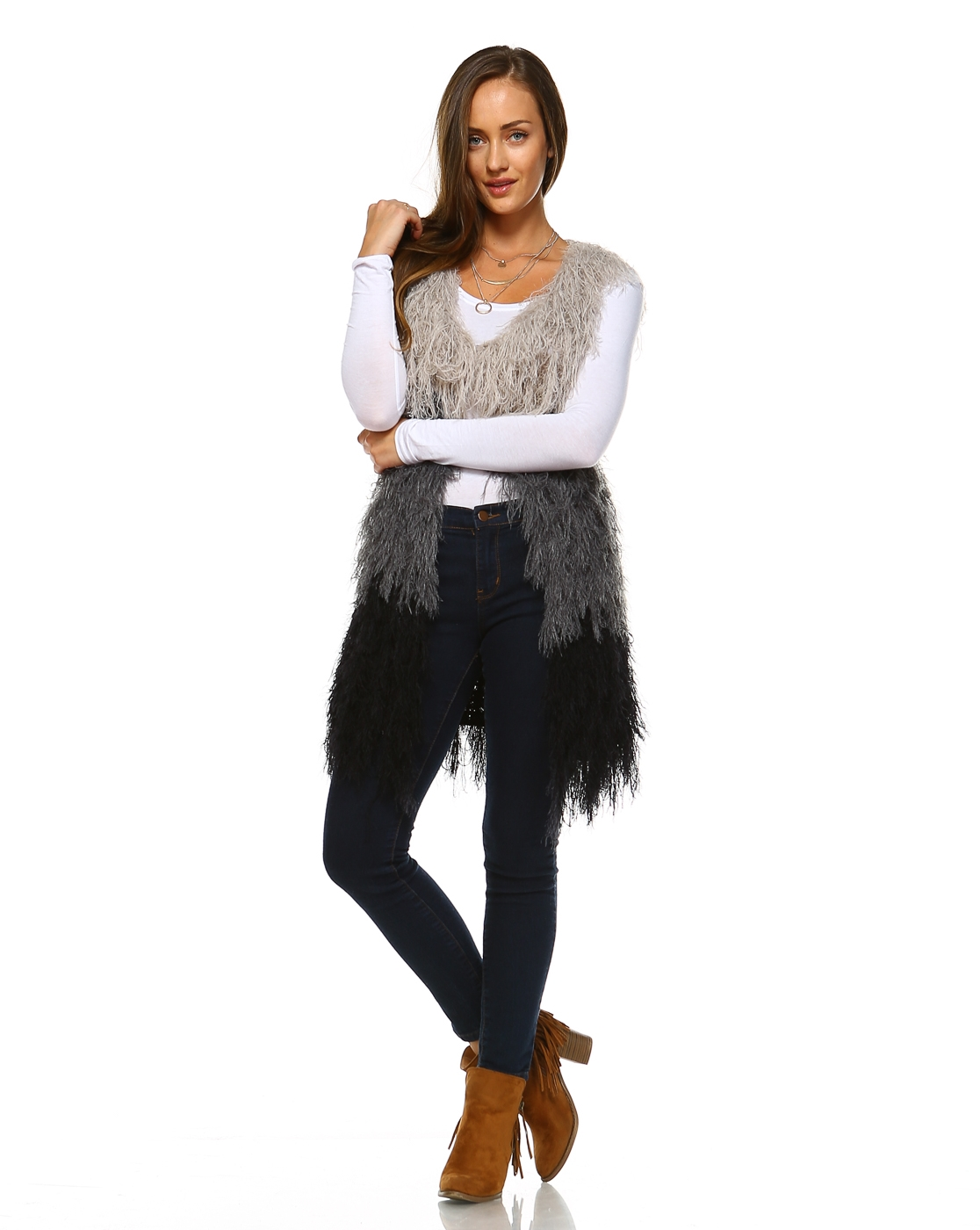 -Knitted Shaggy Fur Vest   -Sl - orangeshine.com