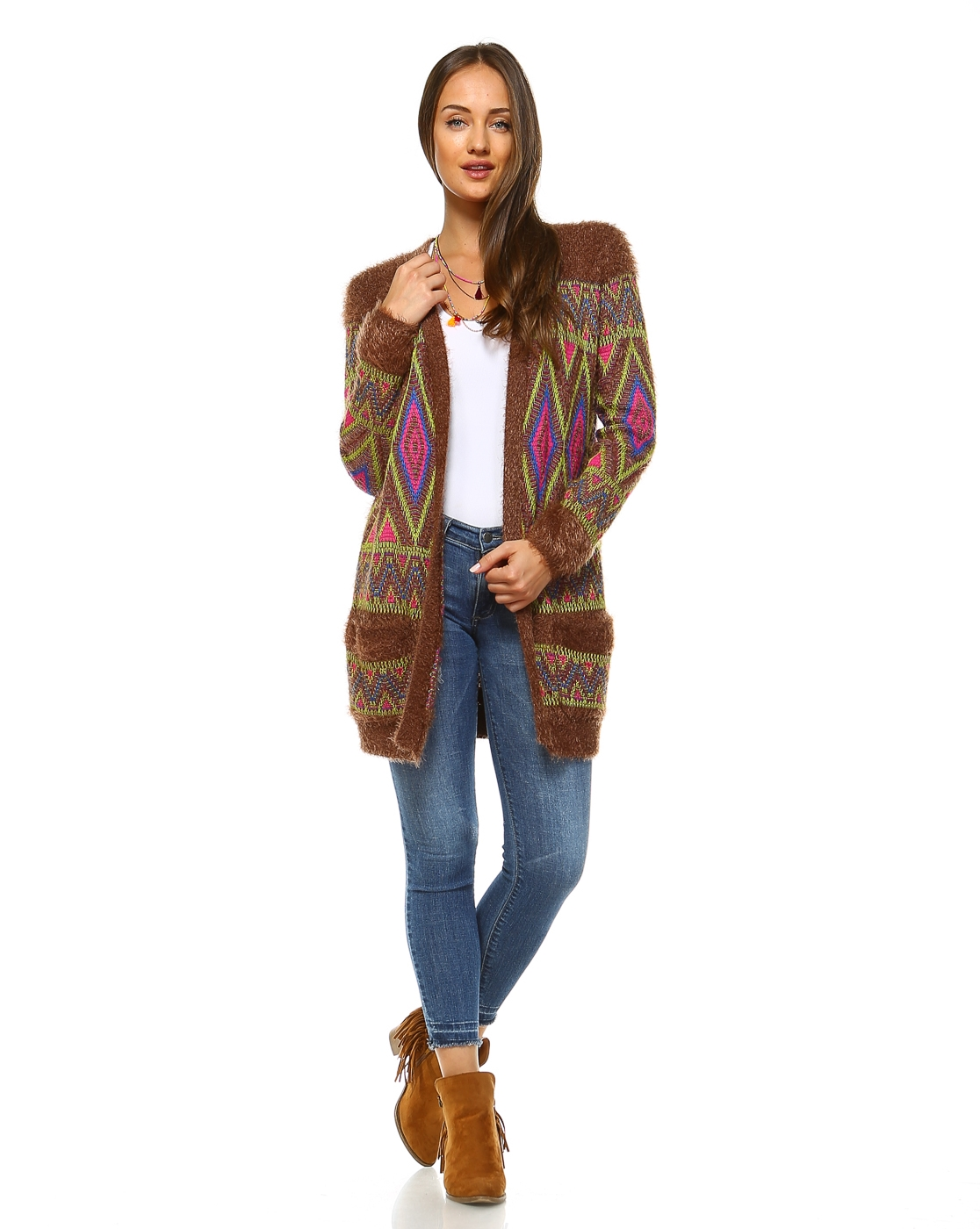 -Bohemian Colorful Plush Cardi - orangeshine.com