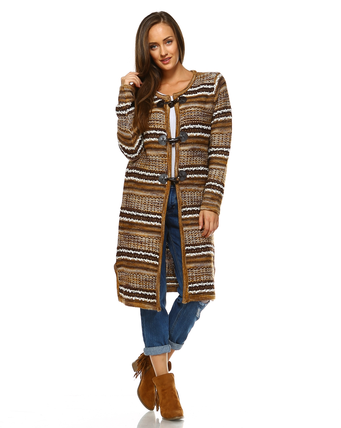 -Bohemian Striped Cardigan Swe - orangeshine.com