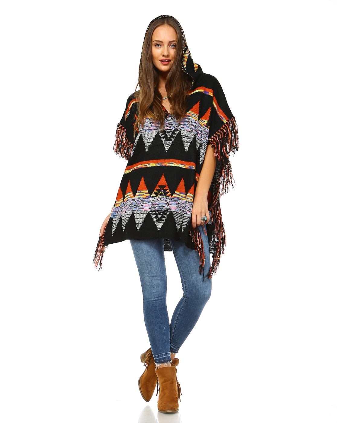 -Boho/Hippy Poncho Sweater -Ho - orangeshine.com
