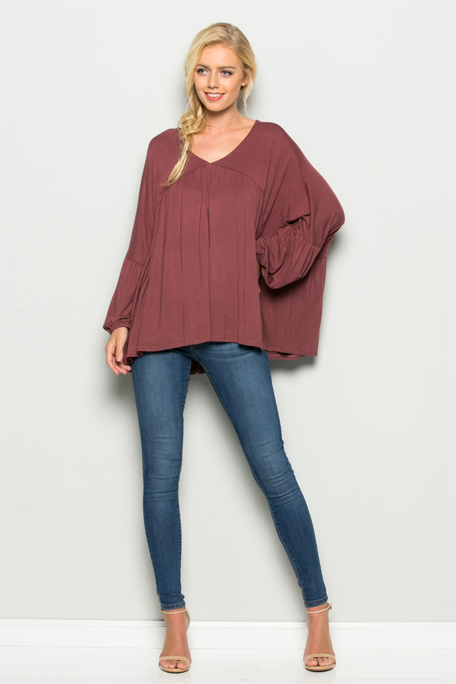 V Neck Shirring Top - orangeshine.com